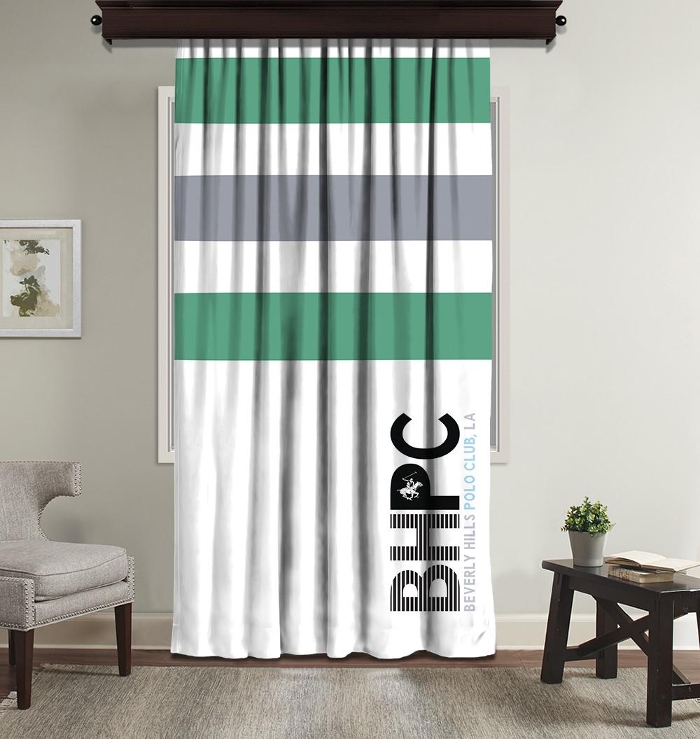 Draperie Beverly Hills Polo Club Crt 07-2 Verde / Alb / Gri, 140 x 260 cm poza