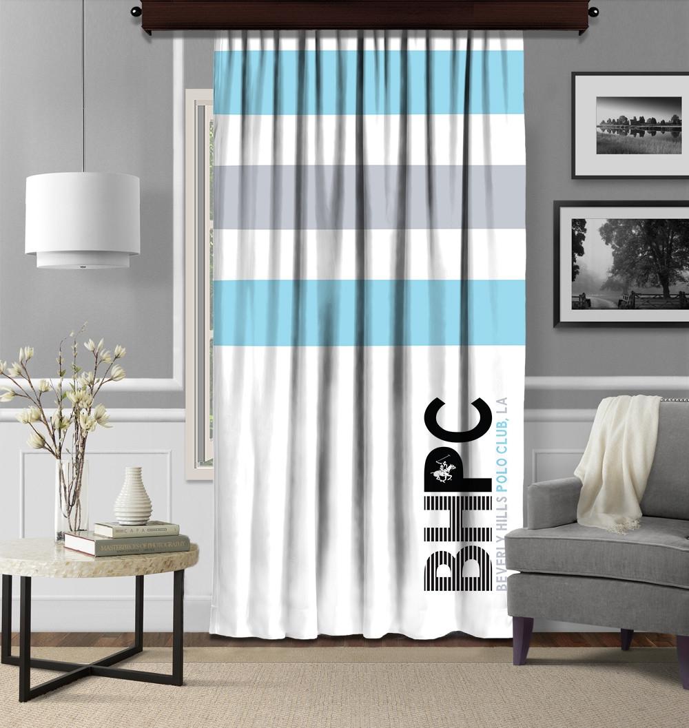 Draperie Beverly Hills Polo Club Crt 07 Bleu / Alb / Gri, 140 x 260 cm poza
