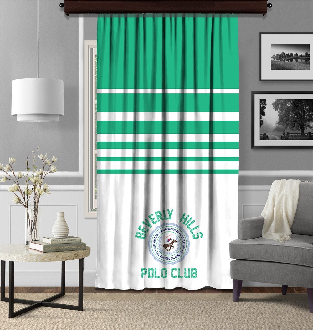 Draperie Beverly Hills Polo Club Crt 11-1 Verde / Alb, 140 x 260 cm imagine