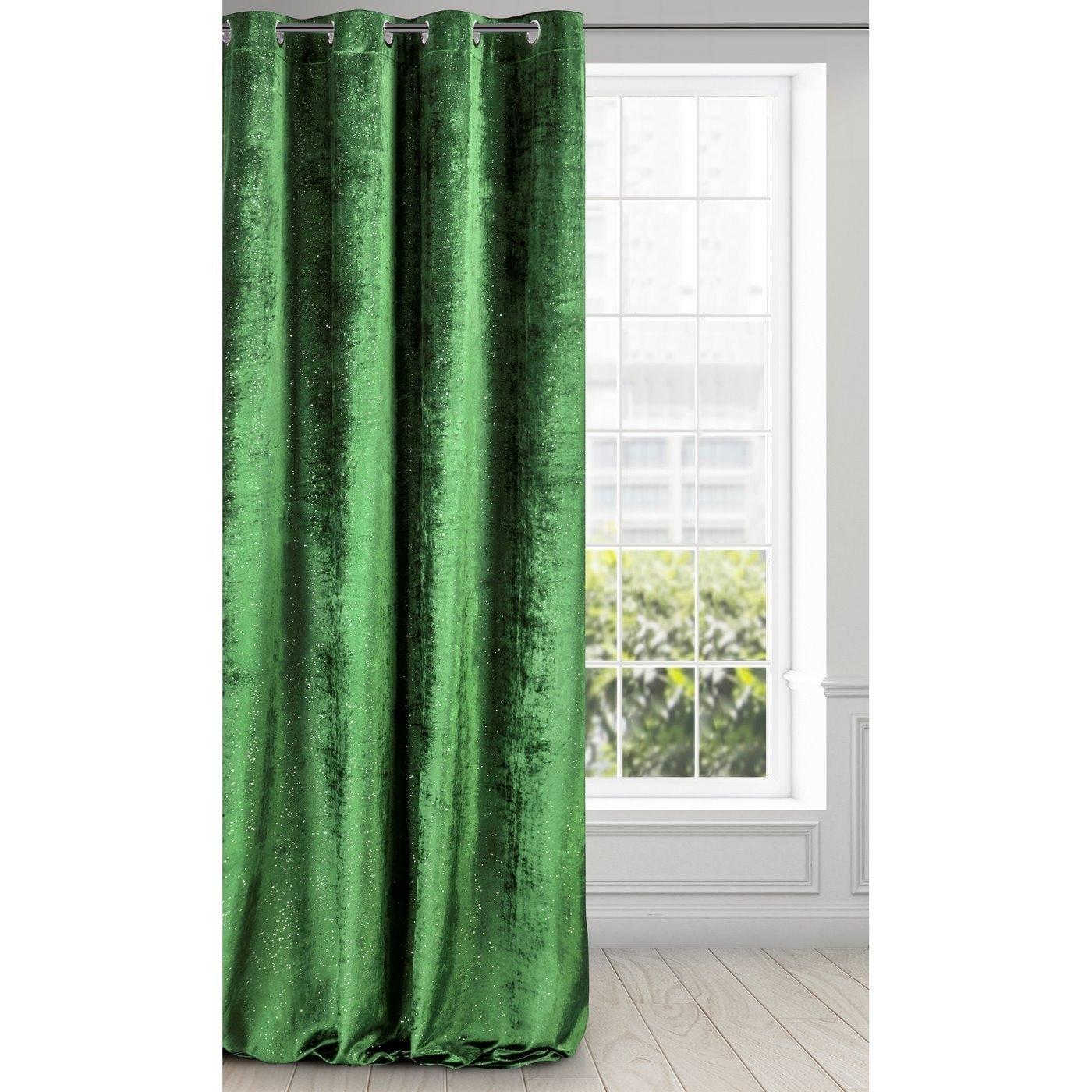 Draperie Elizia Velvet Verde, 140 x 250 cm, 1 bucata poza