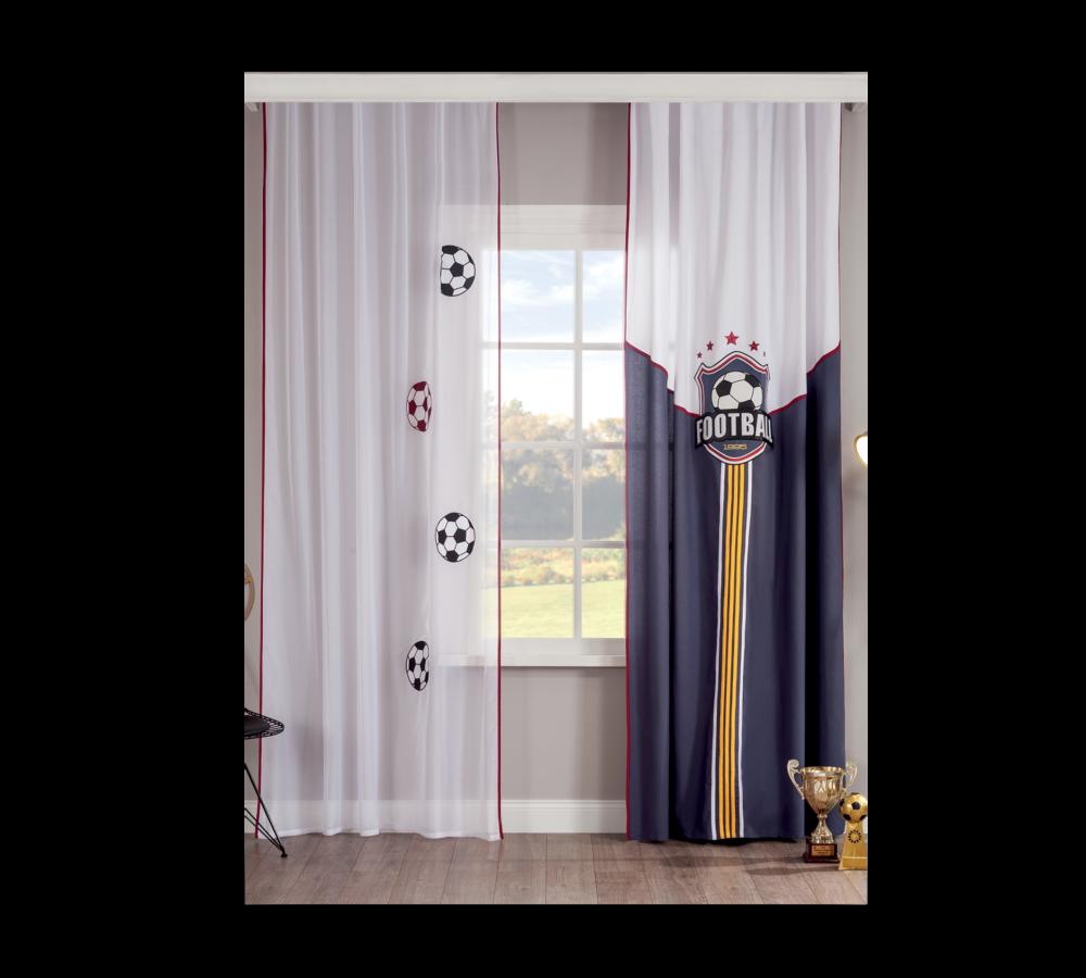 Set perdea si draperie pentru copii Goal White / Bleumarine