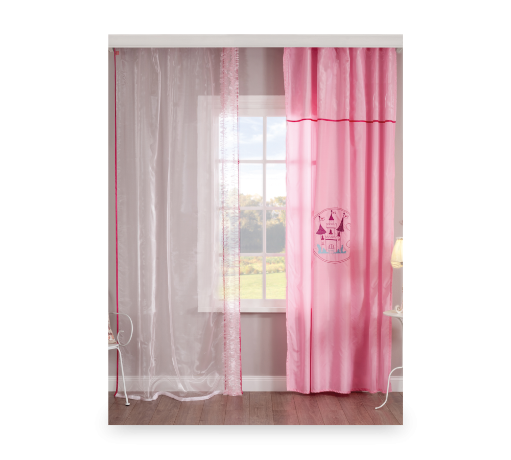 Set perdea si draperie pentru copii Lady White / Pink imagine