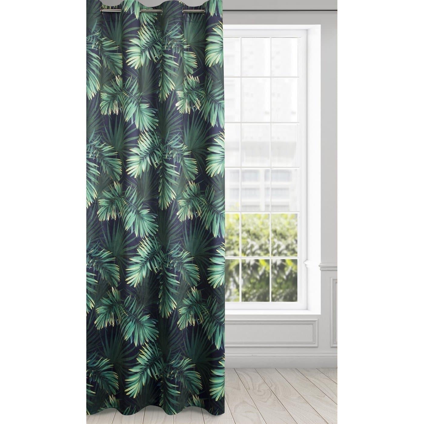 Draperie Omega Velvet Negru / Verde, 140 x 250 cm, 1 bucata poza