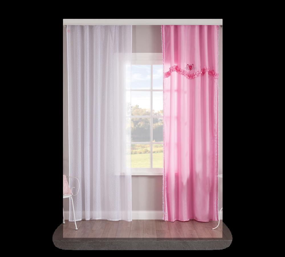 Set perdea si draperie pentru copii Rosa White / Pink