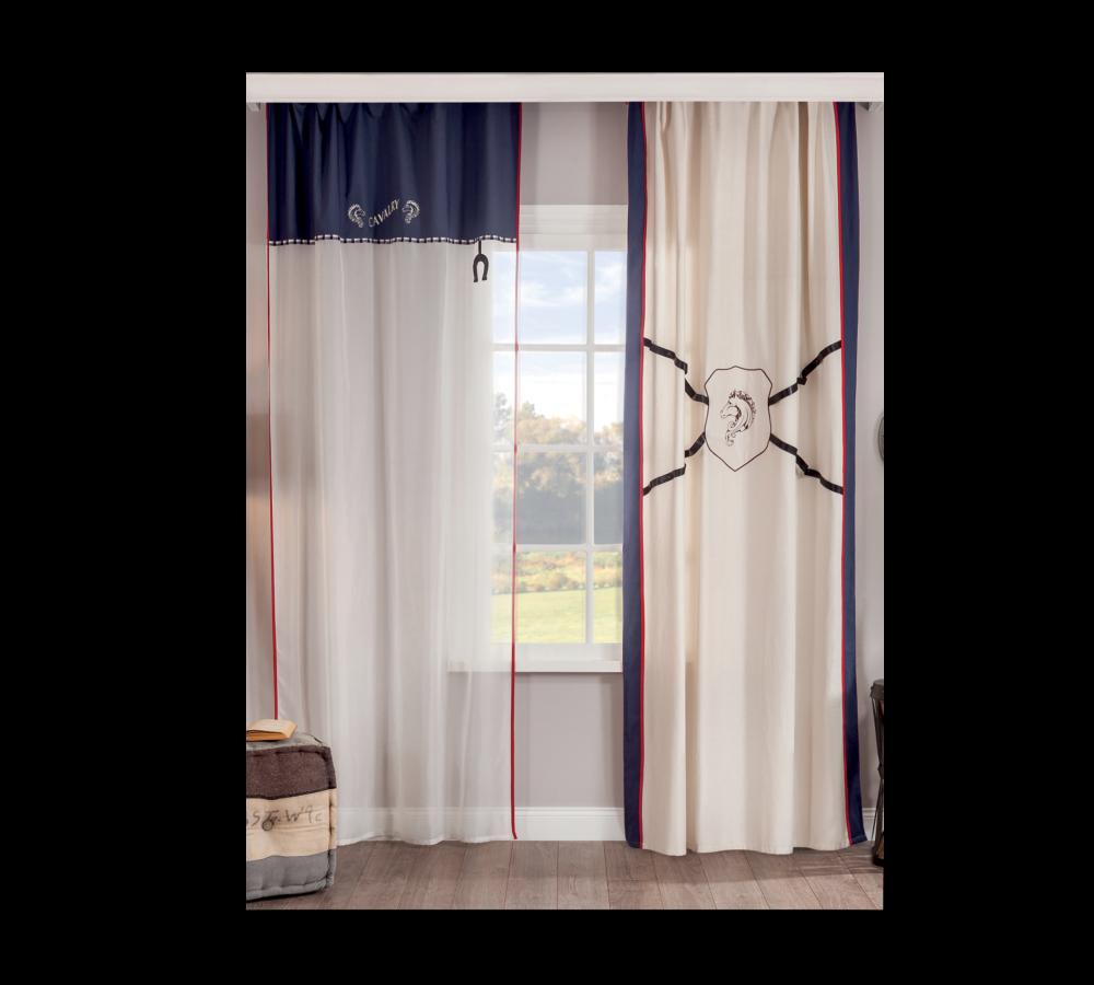 Set perdea si draperie pentru copii Royal White / Bleumarine