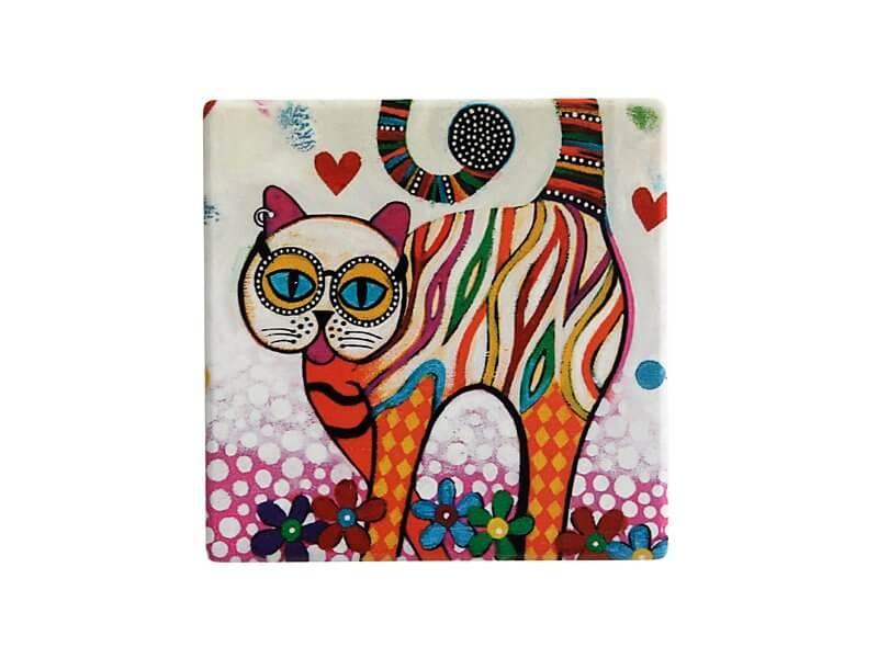 Set 6 coastere Tabby, Ceramica, Smile Style, 9 cm