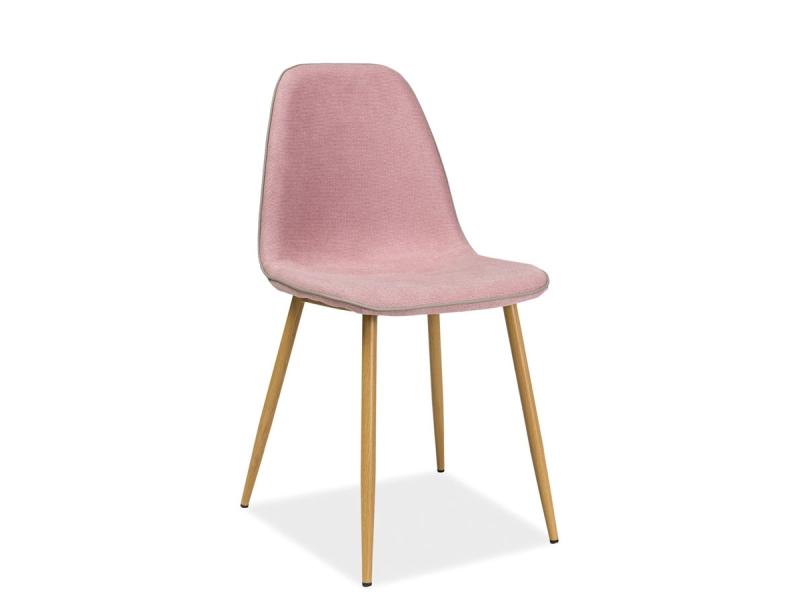 Scaun tapitat cu stofa, cu picioare metalice Dual Pink / Oak, l44xA40xH86 cm