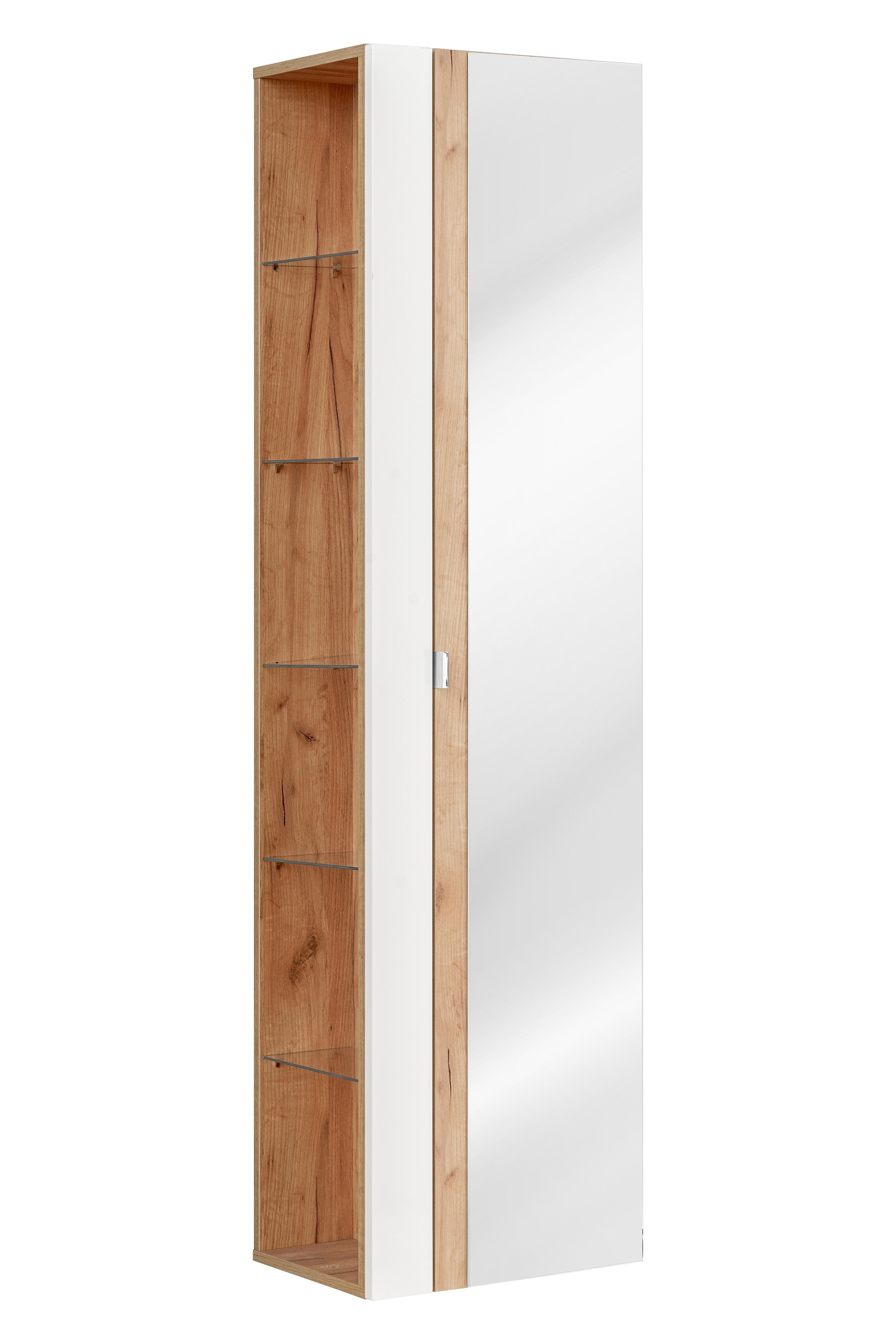 Dulap baie inalt cu 1 usa si oglinda, Capri White, l45xA33xH170 cm imagine