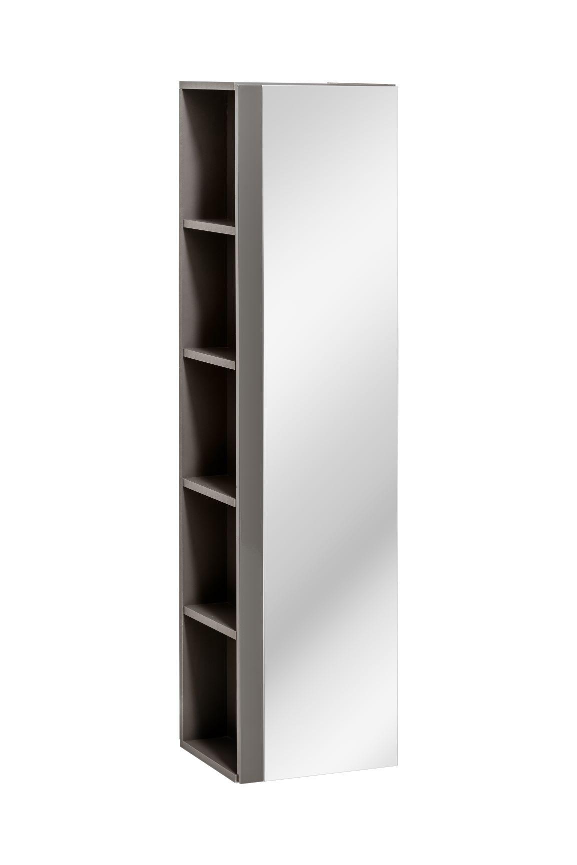 Dulap baie inalt cu 1 usa si oglinda Twist Grey l35xA30xH140 cm