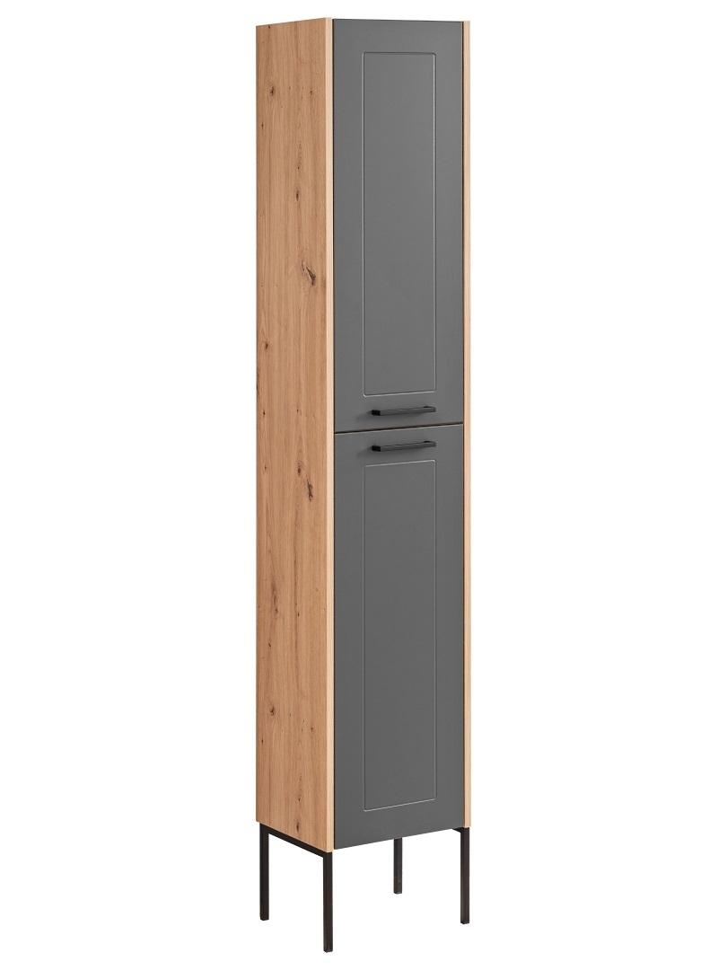 Dulap baie inalt cu 2 usi, picioare metalice, Madera Grafit / Stejar, l35xA30xH170 cm imagine