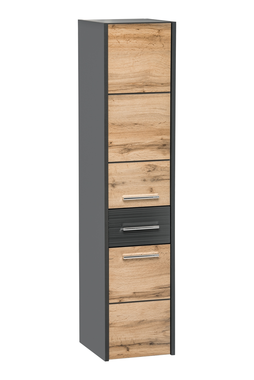 Dulap baie inalt cu 2 usi si 1 sertar, Ibiza Antracit, l30xA33xH135 cm imagine