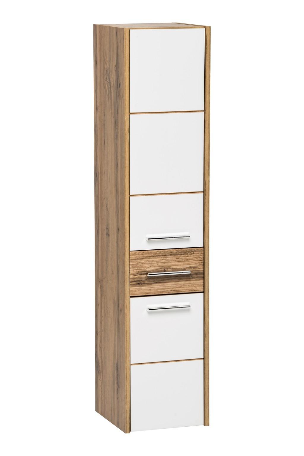 Dulap baie inalt cu 2 usi si 1 sertar, Ibiza White, l30xA33xH135 cm imagine