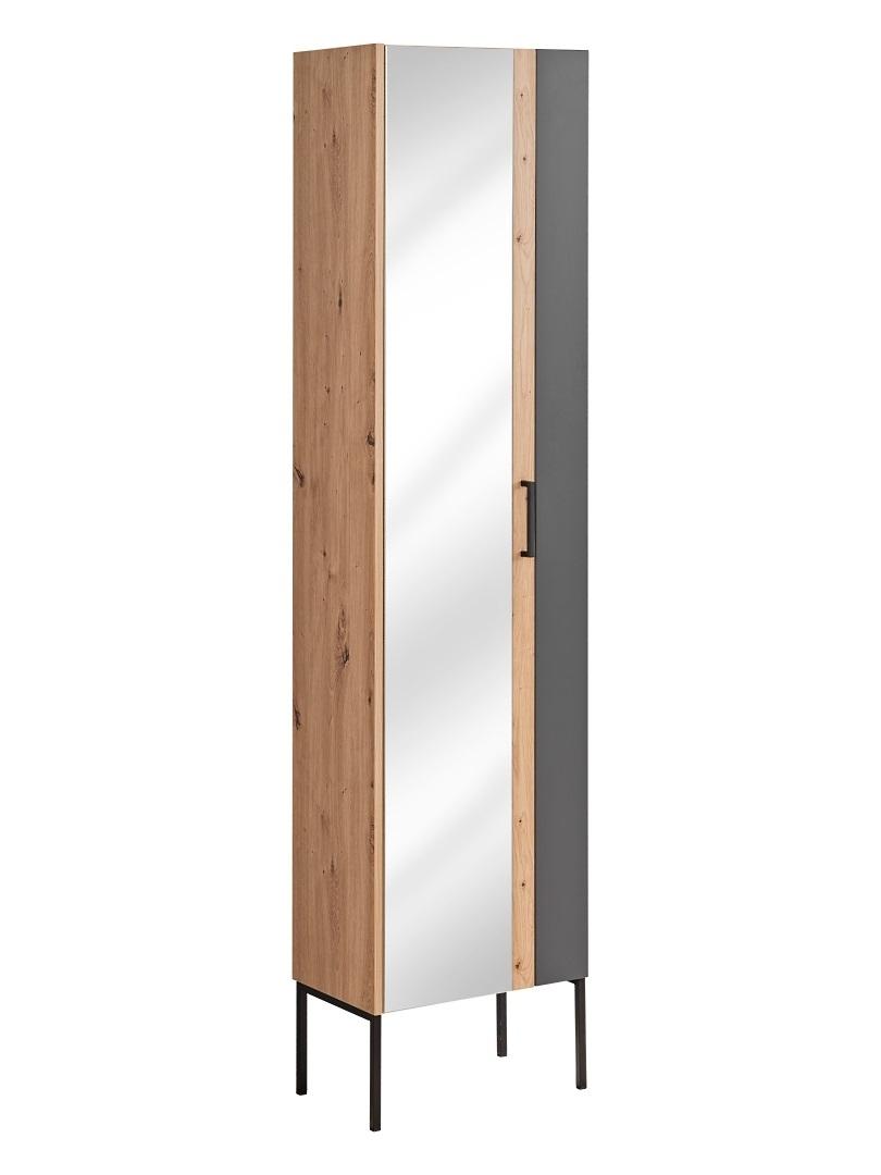 Dulap baie inalt, cu oglinda, 1 usa, picioare metalice, Madera Grafit / Stejar, l45xA30xH170 cm poza
