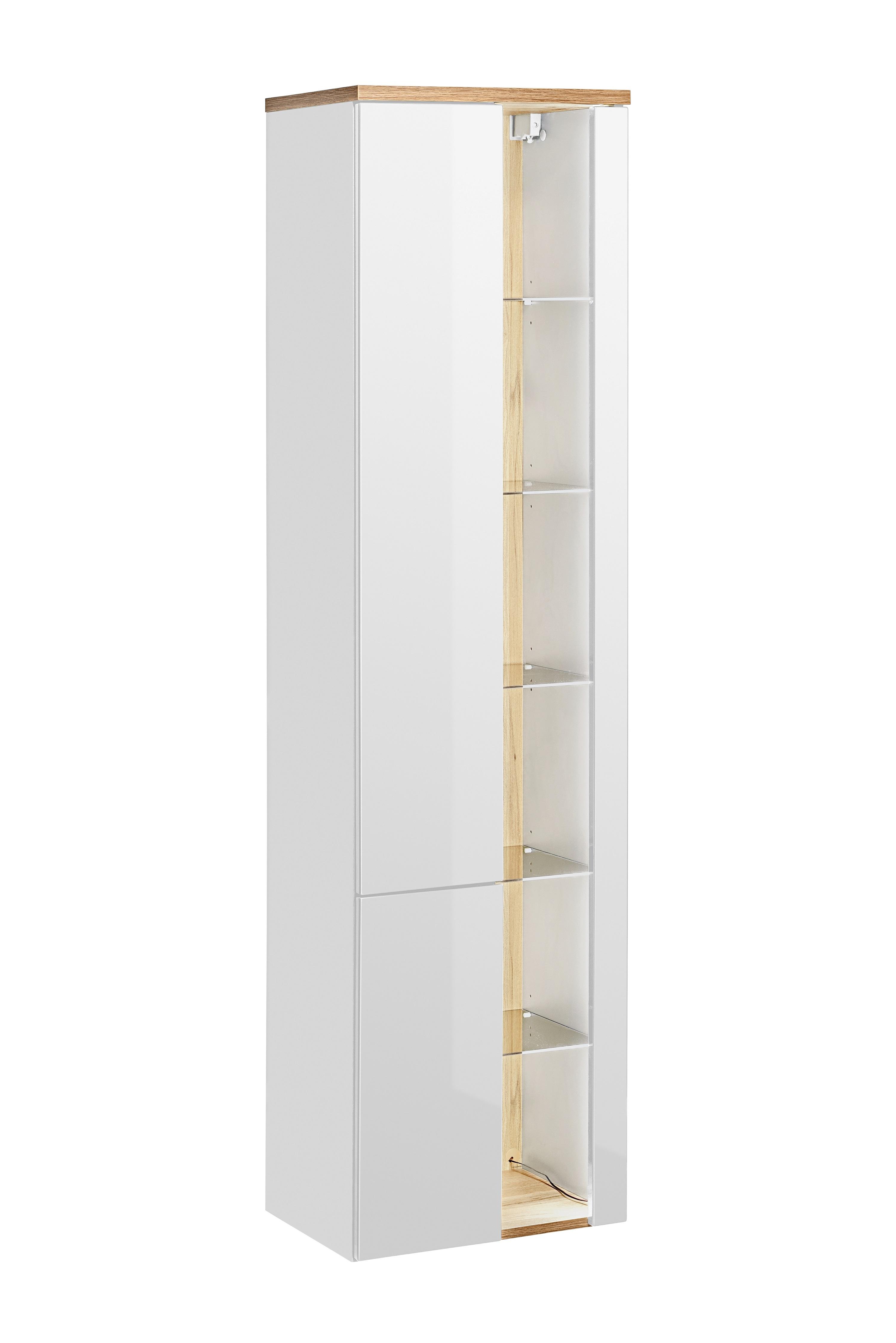Dulap baie inalt cu rafturi si 2 usi, Bahama White, l45xA33xH170 cm
