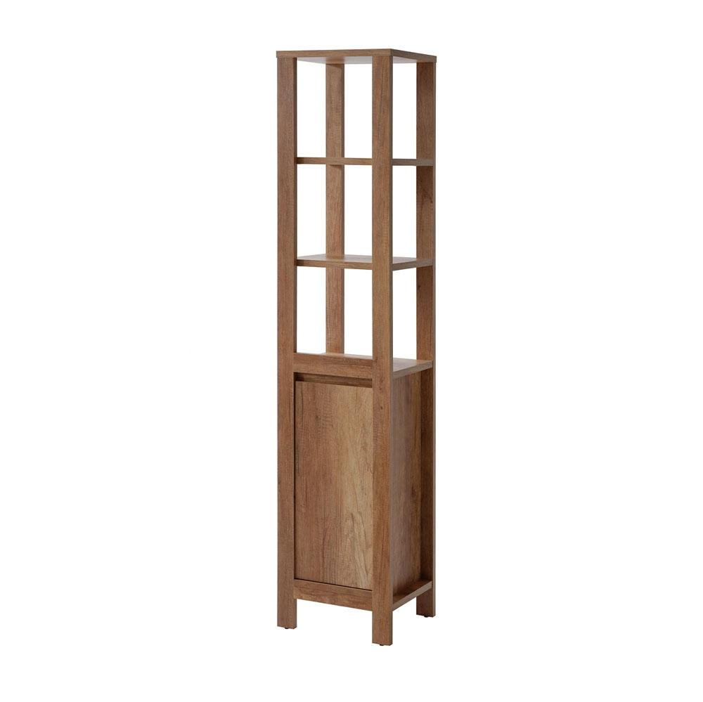 Dulap baie inalt cu vitrina 1 usa, Classic Oak, l40xA35xH185 cm