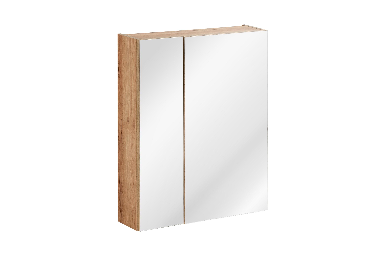 Dulap baie suspendat cu 2 usi si oglinda, Capri Oak, l60xA16xH75 cm imagine