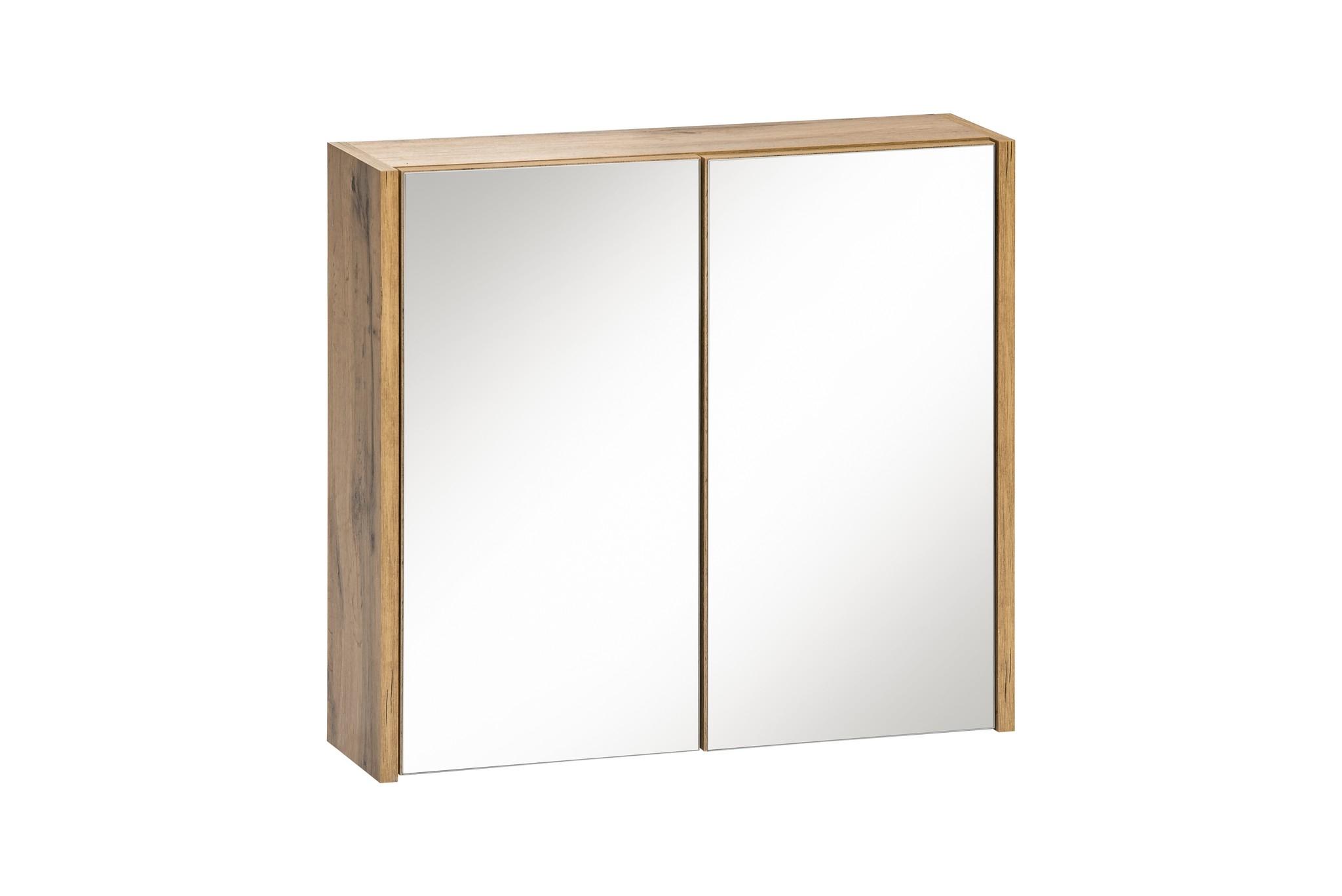 Dulap baie suspendat cu 2 usi si oglinda, Ibiza White, l60xA16xH55 cm imagine