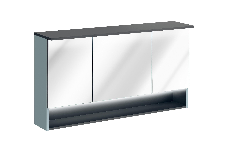 Dulap baie suspendat cu 3 usi si oglinda, Bahama Mint, l120xA25xH70 cm imagine