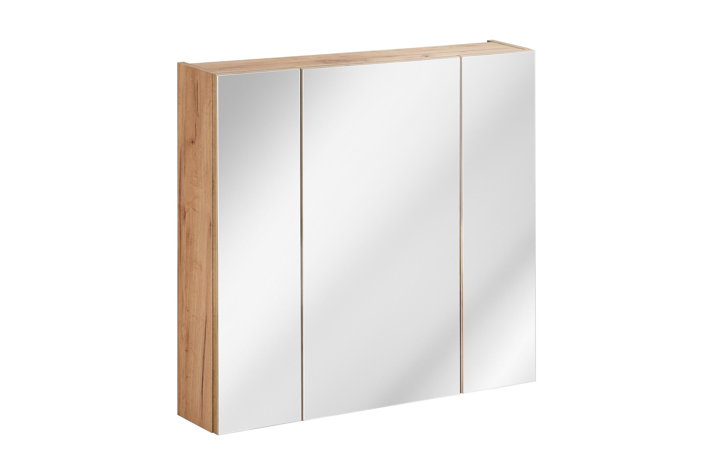 Dulap baie suspendat cu 3 usi si oglinda, Capri Oak, l80xA16xH75 cm imagine