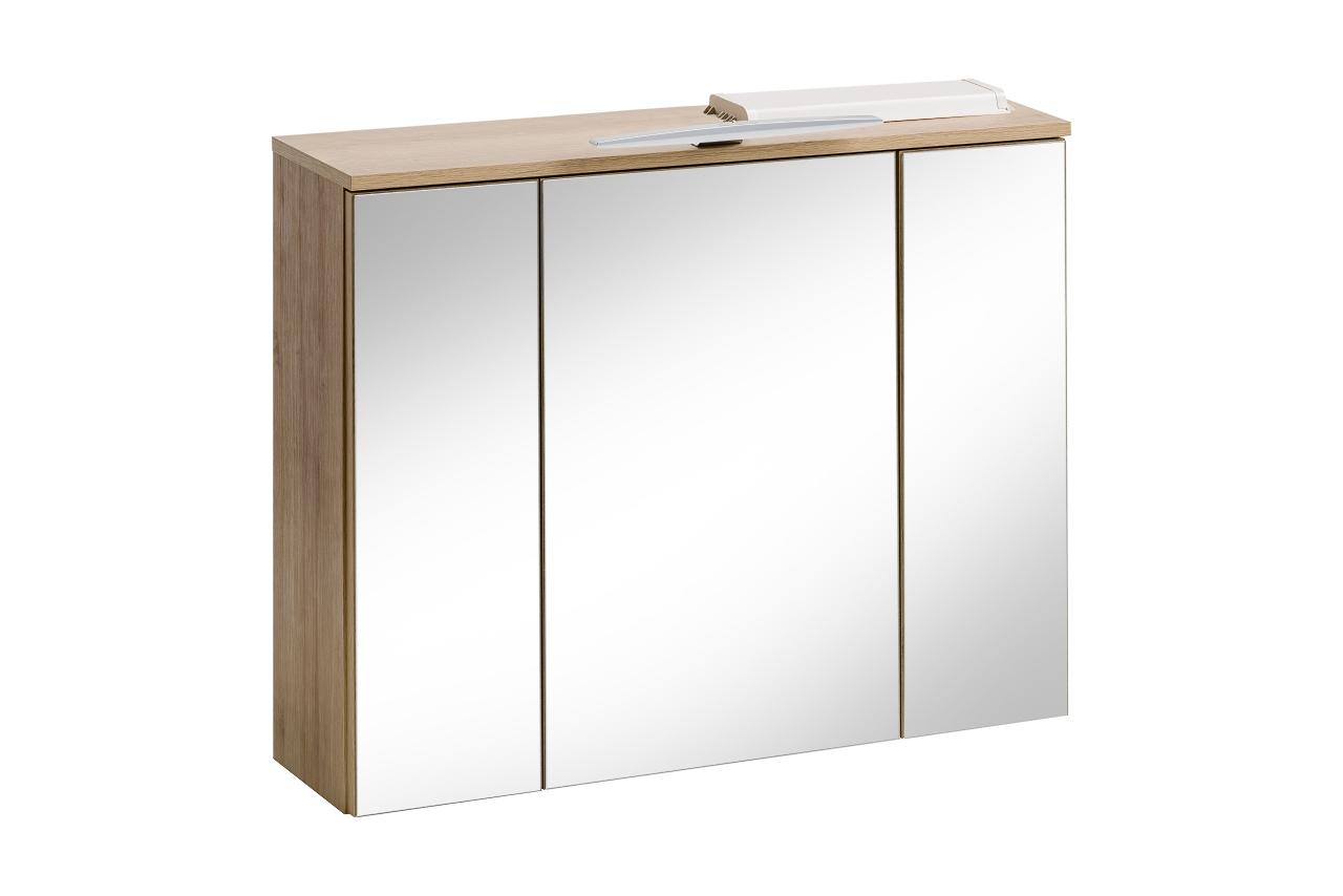 Dulap baie suspendat cu 3 usi si oglinda Remik Riviera Oak l80xA20xH68 cm