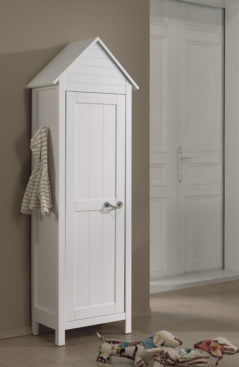 Dulap tip casuta din lemn de pin si MDF cu 1 usa, pentru copii Lewis Alb, l62xA40xH191,5 cm imagine