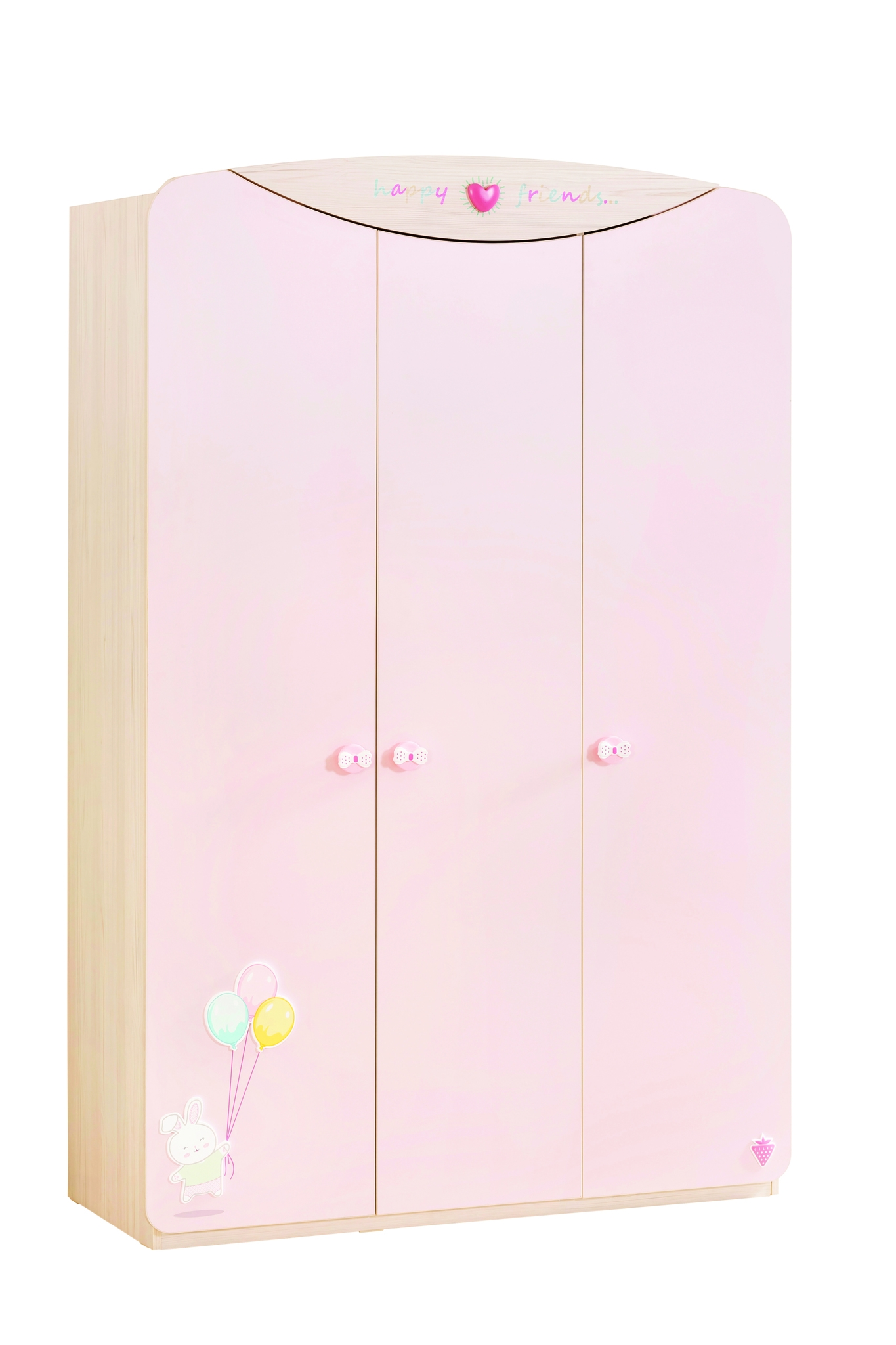 Dulap din pal cu 3 usi, pentru bebe Baby Girl Light Pink / Nature, l133xA55xH201 cm imagine