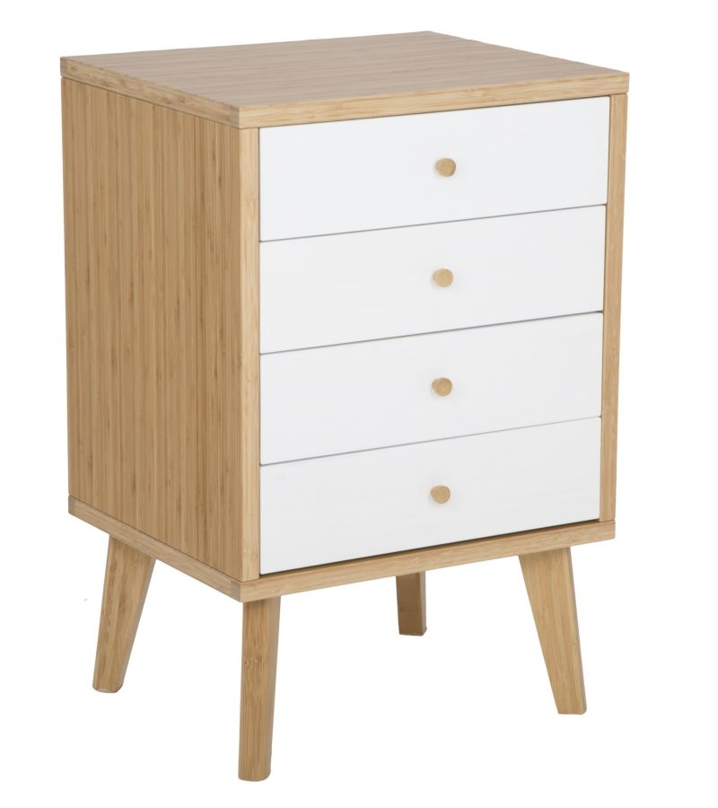 Cabinet din lemn de bambus cu 4 sertare Tokyo Natural / White l48xA40xH73 cm
