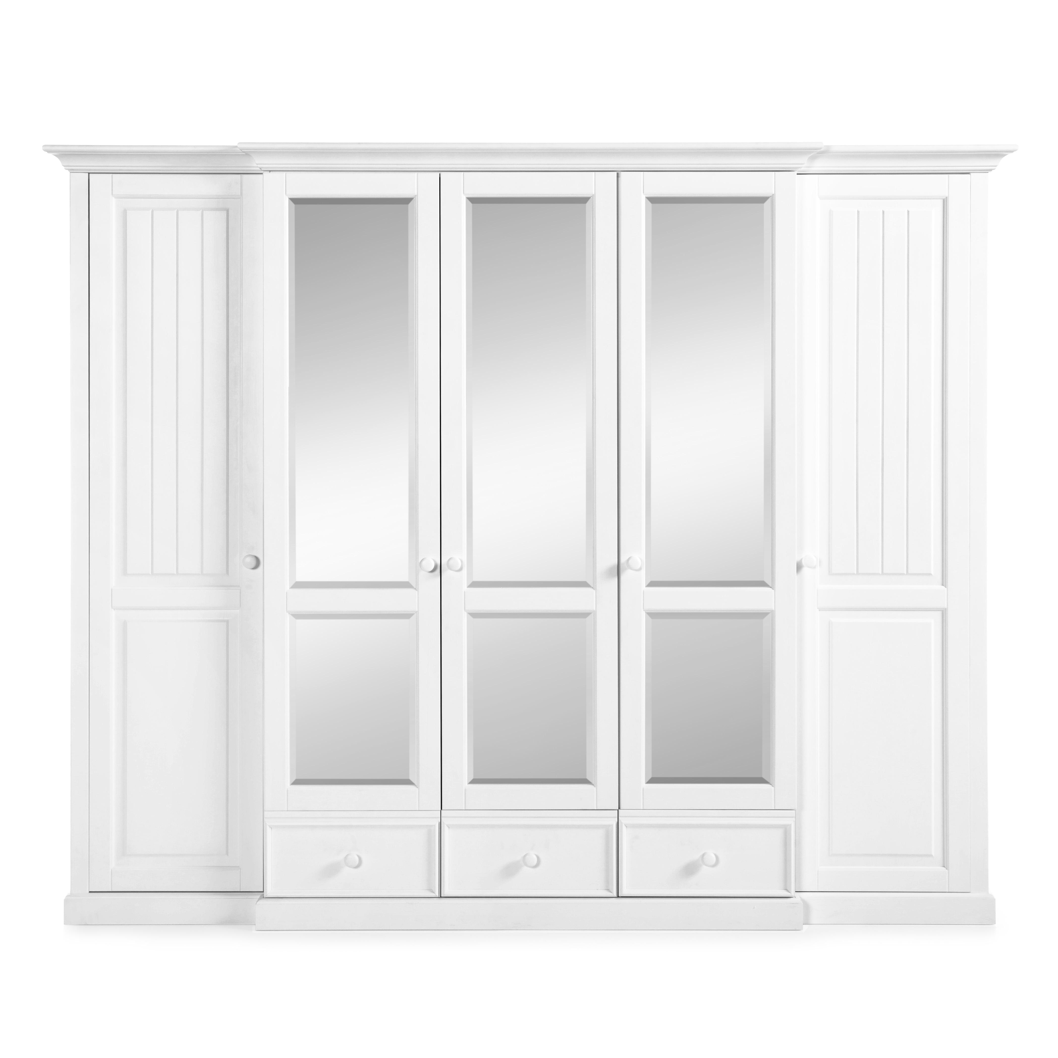 Dulap cu oglinda, din lemn de pin si pal, cu 5 usi si 3 sertare Pallas Premium Alb, l271xA71xH220 cm