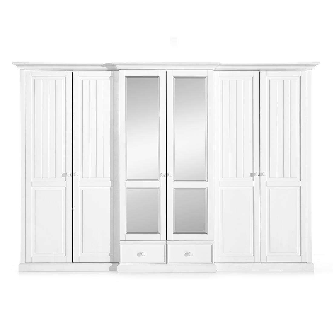 Dulap cu oglinda, din lemn de pin si pal, cu 6 usi si 2 sertare Pallas Premium Alb, l319xA71xH220 cm imagine