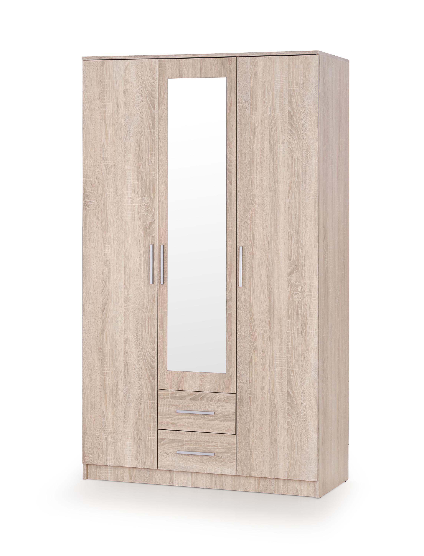 Dulap cu oglinda, din pal cu 3 usi si 2 sertare Lima S-3 Stejar Sonoma, l120xA52xH205 cm