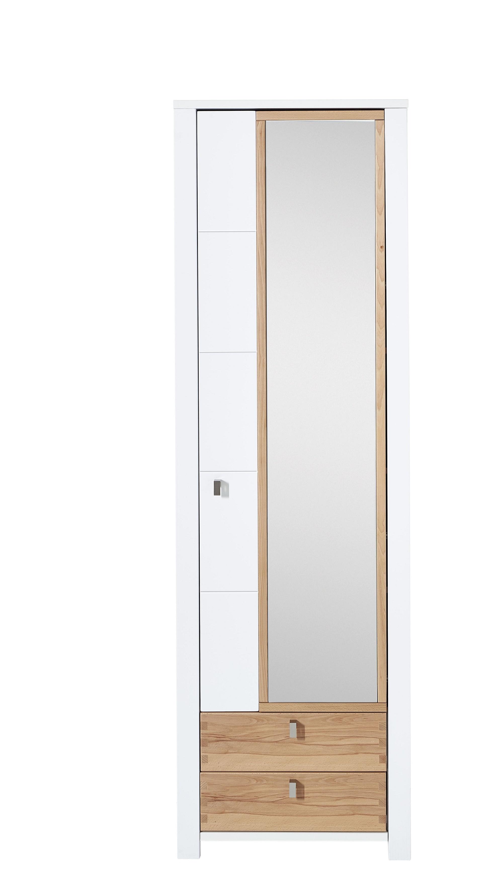 Dulap hol cu oglinda din pal si MDF cu 2 sertare si 1 usa, Selina Alb / Natur, l62xA41xH202 cm somproduct.ro
