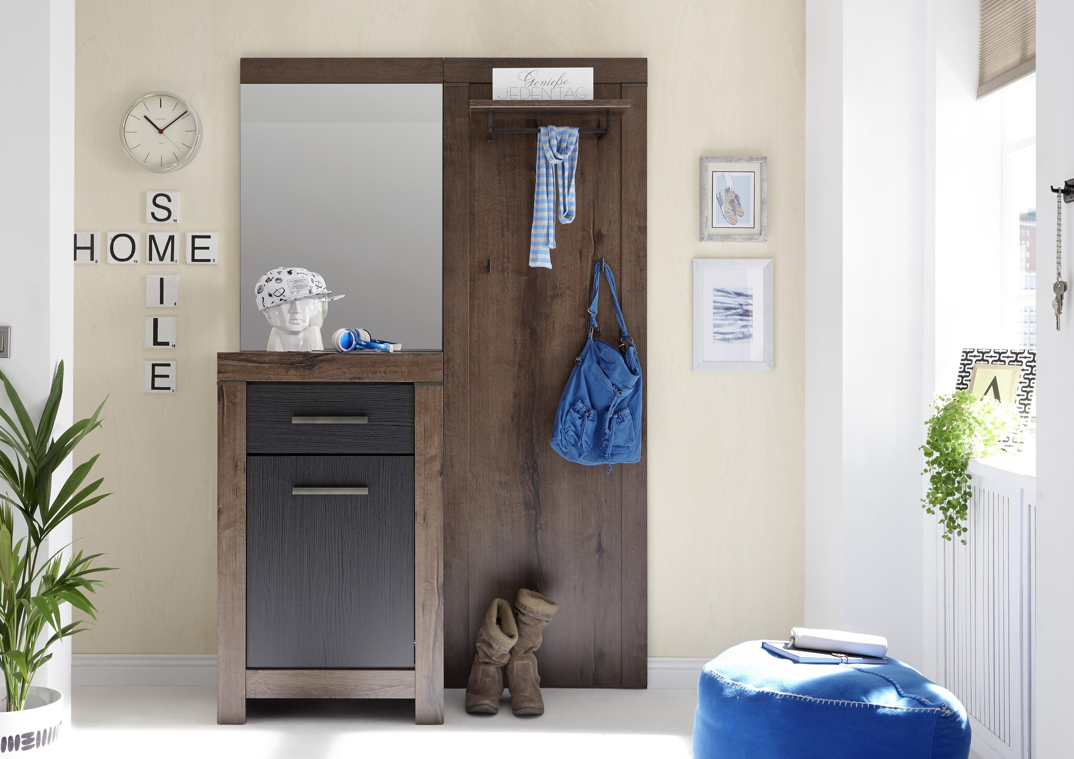 Dulap hol cu oglinda si cuier, din pal cu 1 usa si 1 sertar Blake Stejar Negru / Stejar, l127xA45xH197 cm imagine