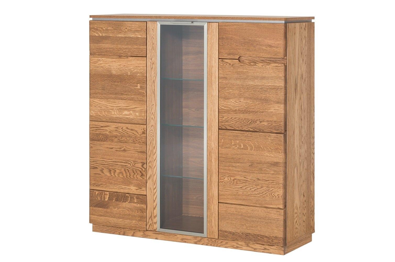 Dulap cu vitrina din lemn si furnir, cu 3 usi Montenegro 48 Stejar Rustic, l120xA42xH125 cm