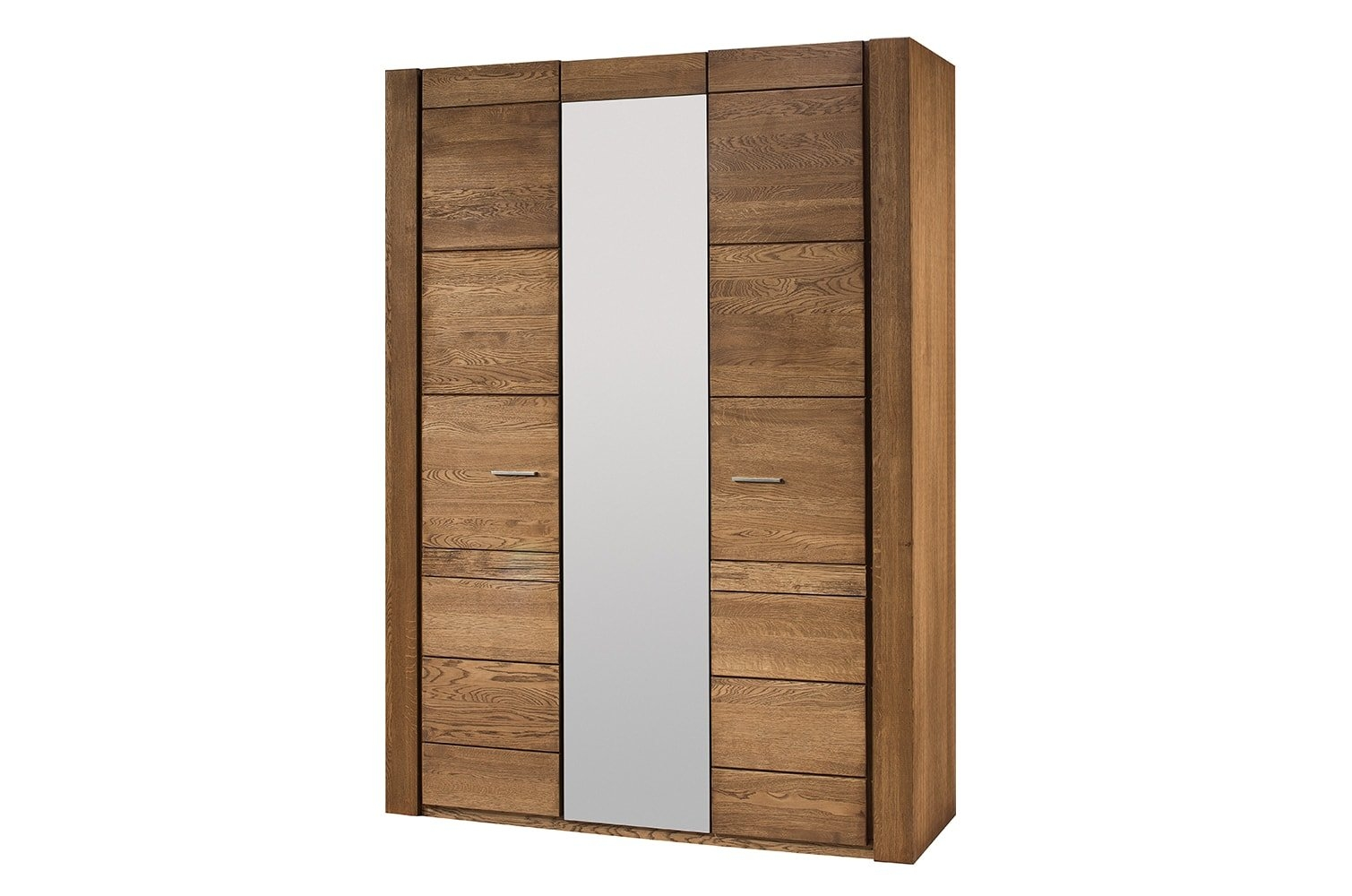 Dulap din furnir si pal, cu 3 usi si oglinda Velvet 73 Stejar Rustic, l160xA60xH225 cm