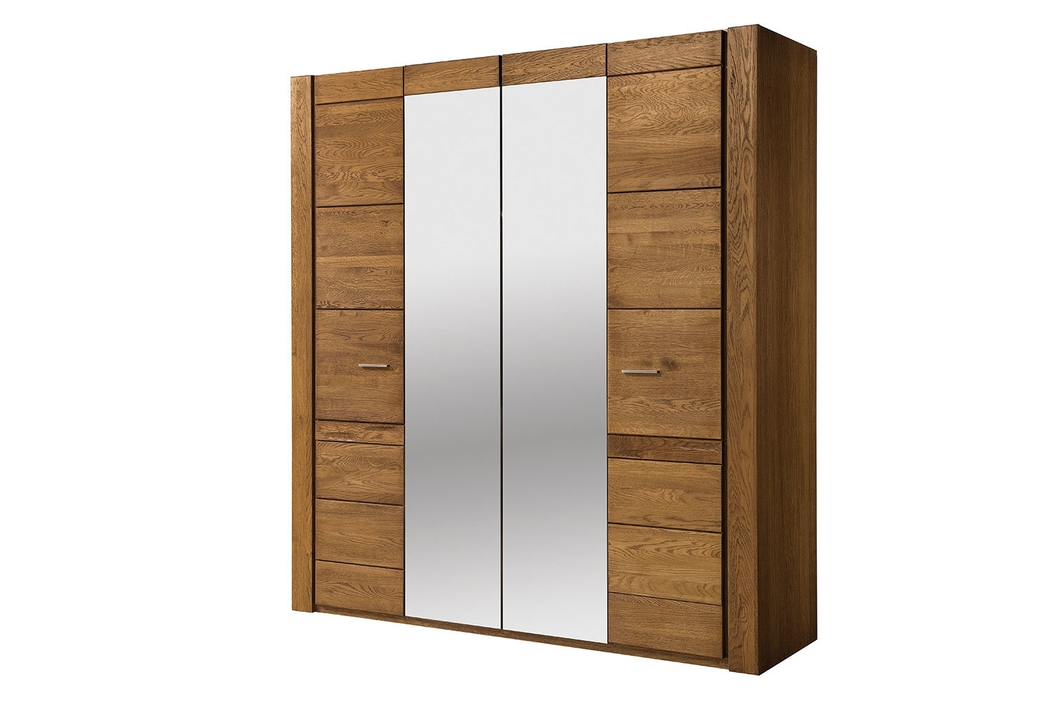 Dulap din furnir si pal, cu 4 usi si oglinda Velvet 77 Stejar Rustic, l205xA60xH225 cm imagine