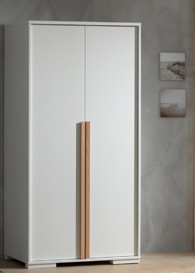 Dulap din lemn de fag si pal, cu 2 usi pentru copii London Alb / Natural, l98,5xA56xH195,2 cm