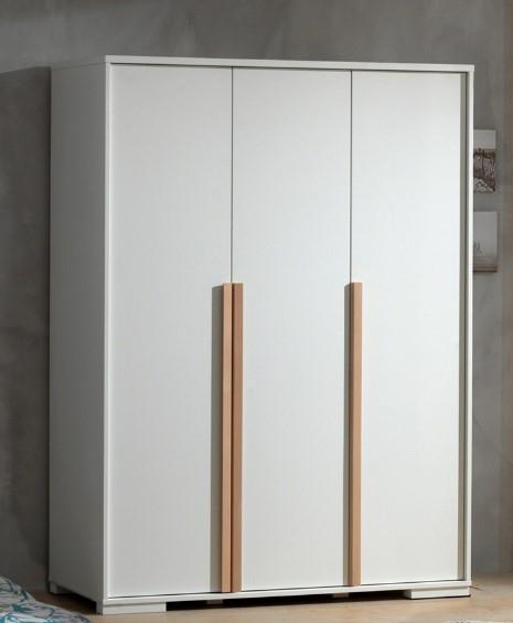 Dulap din lemn de fag si pal, cu 3 usi pentru copii London Alb / Natural, l145,6xA56xH195,2 cm poza