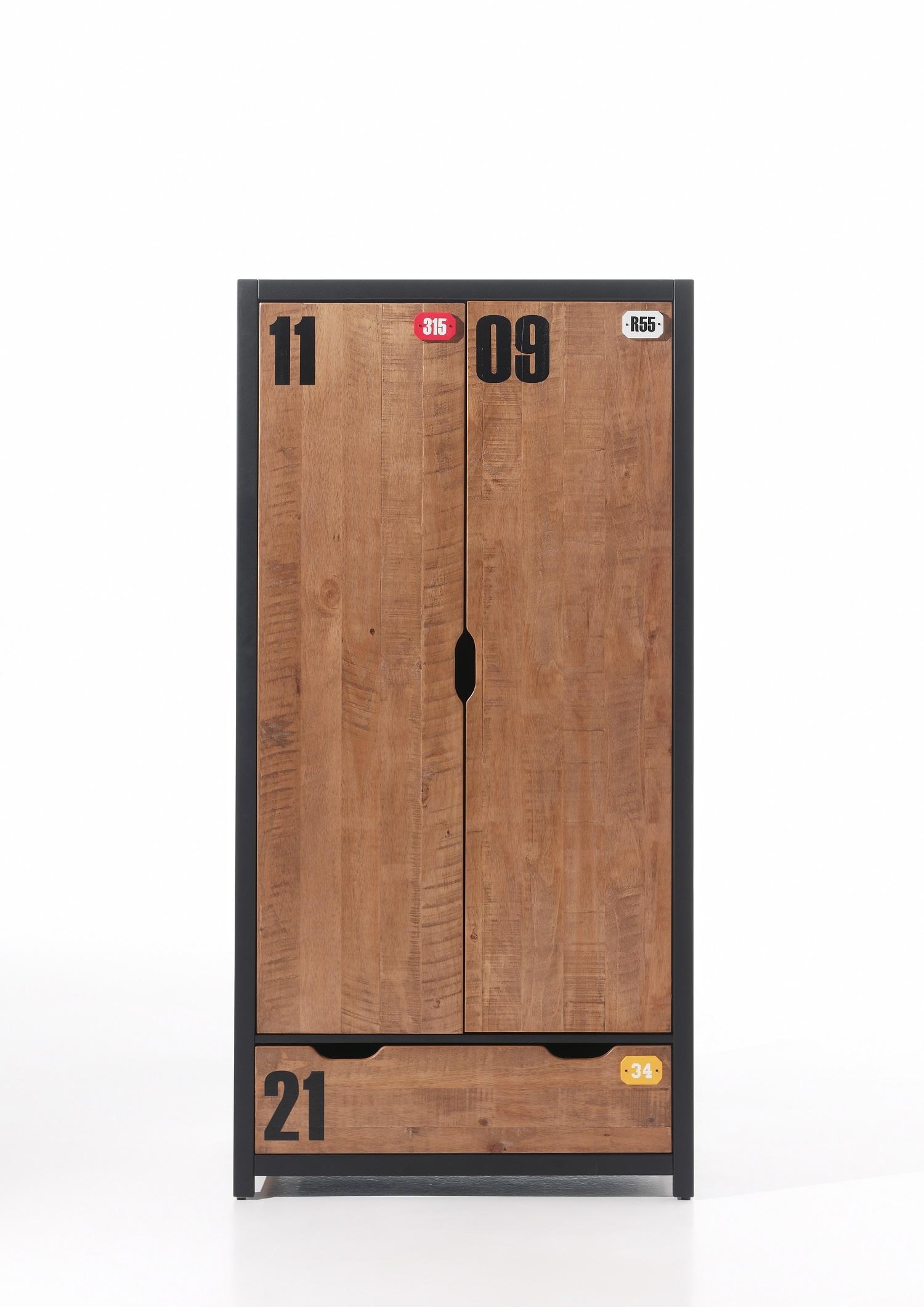 Dulap din lemn de pin si MDF cu 2 usi si 1 sertar, pentru copii Alex Natural / Negru, l100xA55xH200 cm somproduct.ro