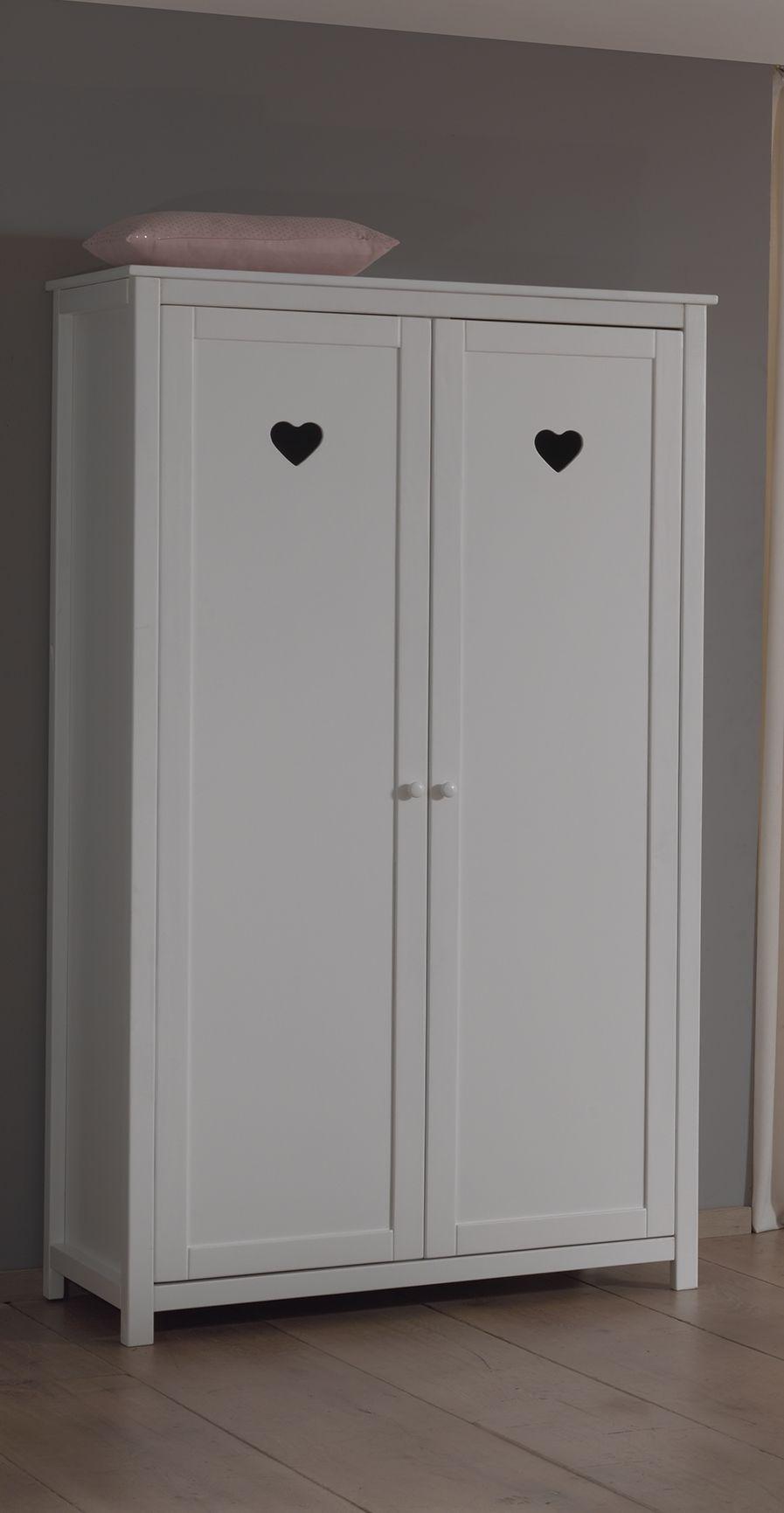 Dulap din lemn de pin si MDF cu 2 usi, pentru copii Amori Alb, l110xA57xH190,5 cm