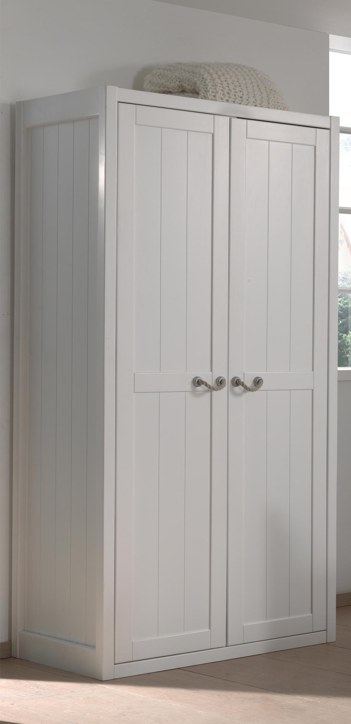 Dulap din lemn de pin si MDF cu 2 usi, pentru copii Lewis Alb, l100xA59xH200 cm poza