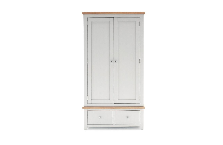 Dulap din lemn de pin si MDF, cu 2 usi si 2 sertare Ferndale Grey / Oak, l97xA56xH189 cm
