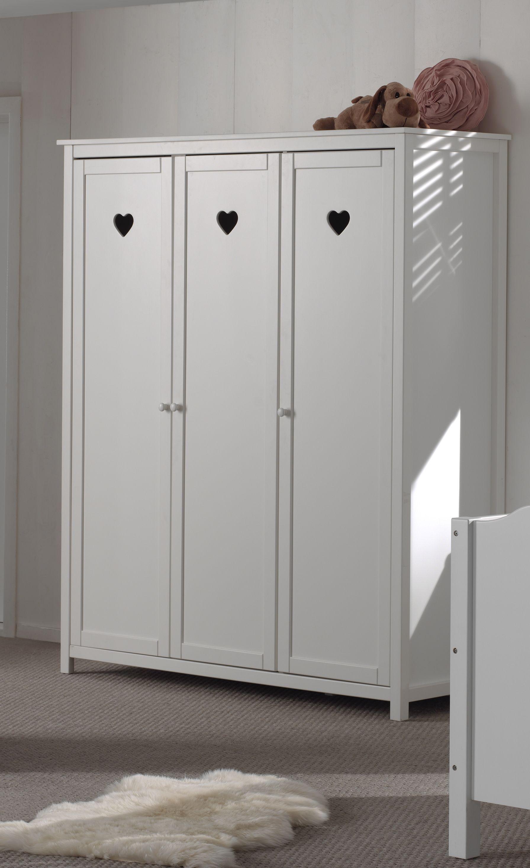 Dulap din lemn de pin si MDF cu 3 usi, pentru copii Amori Alb, l159xA57xH190,5 cm