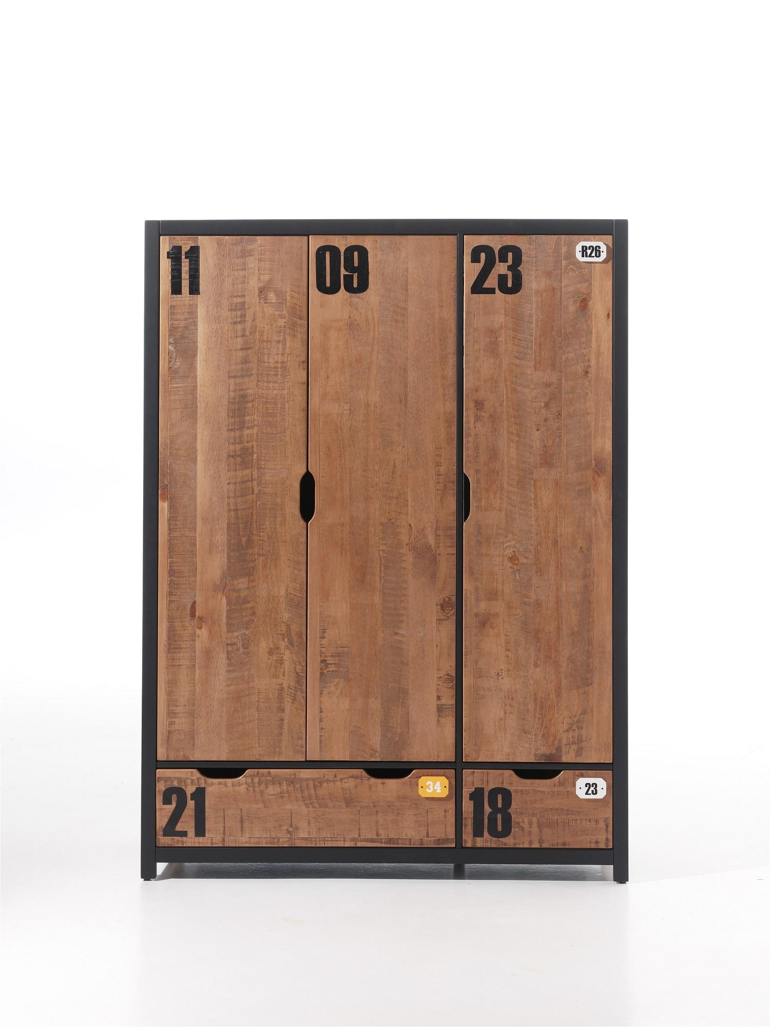 Dulap din lemn de pin si MDF cu 3 usi si 2 sertare, pentru copii Alex Natural / Negru, l147,5xA55xH200 cm imagine