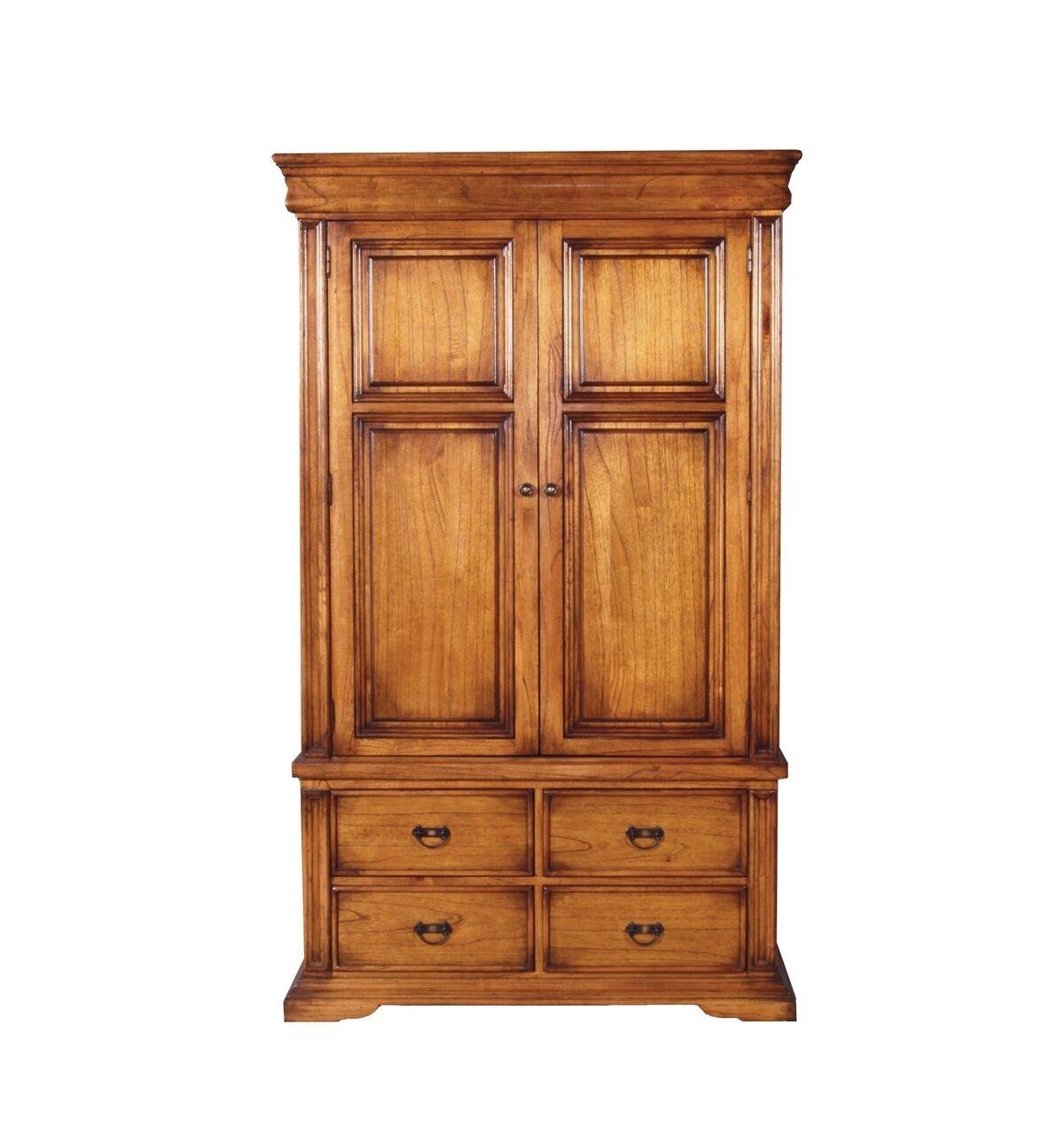 Dulap din lemn de stejar cu 2 usi si 4 sertare Valentino Oak l121xA655xH203 cm