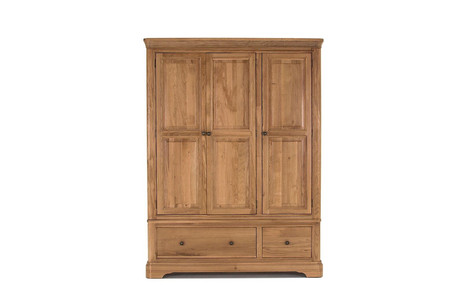 Dulap din lemn de stejar si furnir cu 3 usi si 2 sertare Carmen Oak l1447xA575xH192 cm