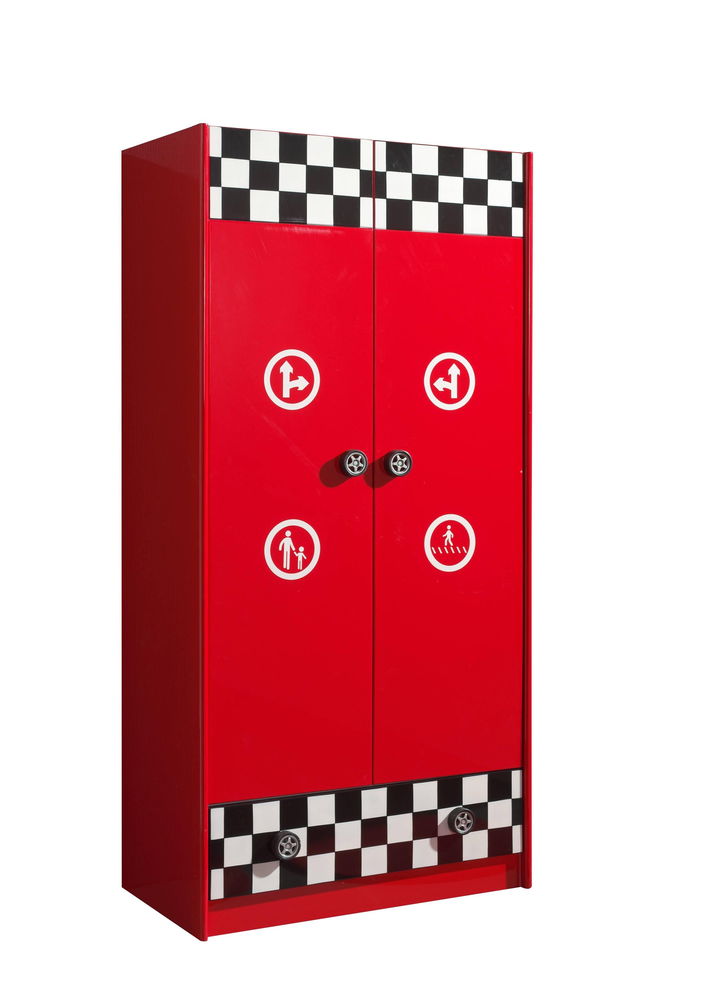 Dulap din MDF cu 2 usi si 1 sertar, pentru copii Le Mans Rosu, l90xA56,8xH190 cm