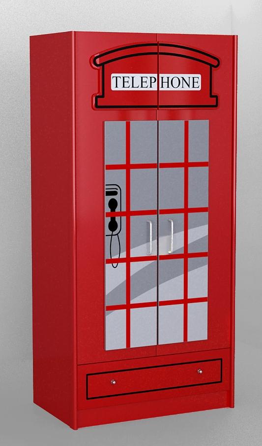 Dulap din MDF cu 2 usi si 1 sertar, pentru copii London Rosu, l90xA56,8xH190 cm imagine