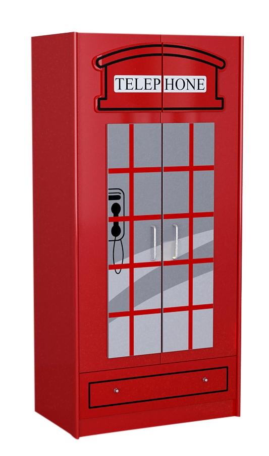 Dulap din MDF cu 2 usi si 1 sertar, pentru copii London Rosu, l90xA56,8xH190 cm