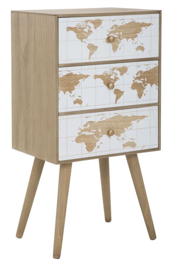 Cabinet din MDF cu 3 sertare White World Natural l39xA29xH74 cm