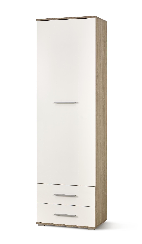 Dulap din pal cu 1 usa si 2 sertare Lima REG-1 Alb / Stejar Sonoma, l60xA40xH200 cm imagine